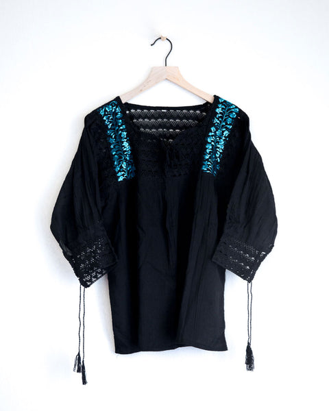 Small Black with Turquoise Franco Top