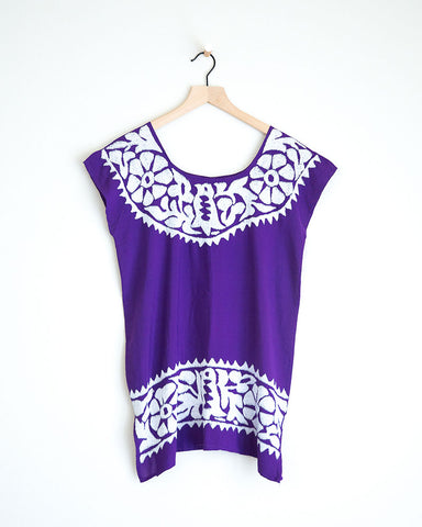 Purple and White Pajarito Top