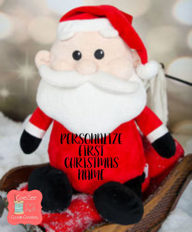 Personalized Christmas Santa Stuffed Animal, Personalized Baby Gift , Birth Announcement Gift, Baby Shower Gift, Cubbie, Custom, Stuffy