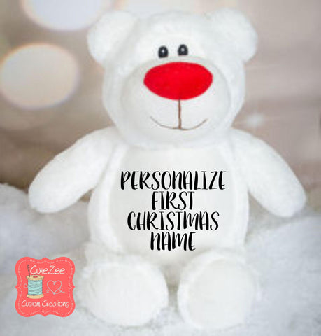 Personalized Christmas Bear Stuffed Animal, Personalized Baby Gift , Birth Announcement Gift, Baby Shower Gift, Cubbie, Custom, Stuffy