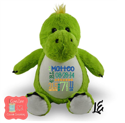 Personalized Dinosaur Stuffed Animal, Personalized Baby Gift , Birth Announcement Gift, Baby Shower Gift, Cubbie, Custom, Stuffy