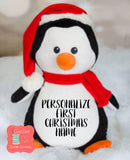 Personalized Christmas Penguin Stuffed Animal, Personalized Baby Gift , Birth Announcement Gift, Baby Shower Gift, Cubbie, Custom, Stuffy