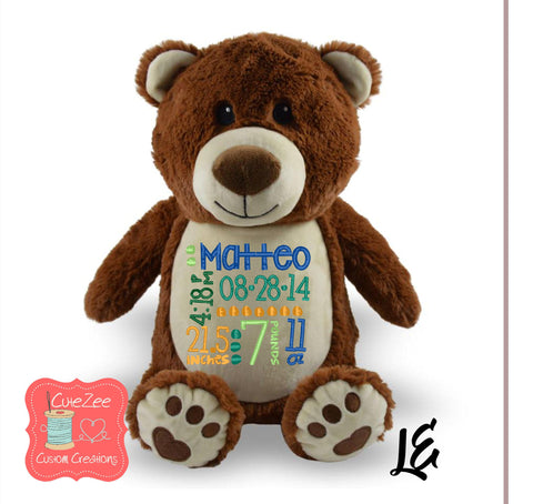 Personalized Bear Stuffed Animal, Personalized Baby Gift , Birth Announcement Gift, Baby Shower Gift, Cubbie, Custom, Stuffy