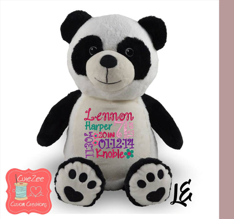 Personalized Panda Bear Stuffed Animal, Personalized Baby Gift , Birth Announcement Gift, Baby Shower Gift, Cubbie, Custom, Stuffy