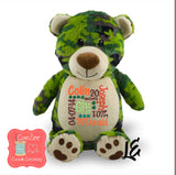 Personalized Camo Bear Stuffed Animal, Personalized Baby Gift , Birth Announcement Gift, Baby Shower Gift, Cubbie, Custom, Stuffy