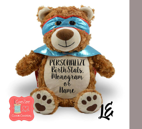 Personalized Super Hero Bear Stuffed Animal, Personalized Baby Gift , Birth Announcement Gift, Baby Shower Gift, Cubbie, Custom, Stuffy