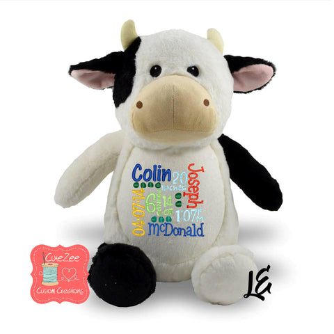 Personalized Cow Stuffed Animal, Personalized Baby Gift , Birth Announcement Gift, Baby Shower Gift, Cubbie, Custom, Stuffy