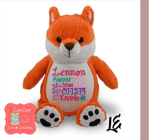 Personalized Fox Stuffed Animal, Personalized Baby Gift , Birth Announcement Gift, Baby Shower Gift, Cubbie, Custom, Stuffy
