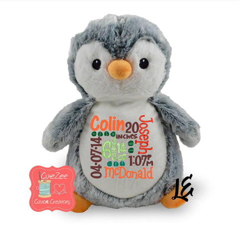Personalized Penguin Stuffed Animal, Personalized Baby Gift , Birth Announcement Gift, Baby Shower Gift, Cubbie, Custom, Stuffy
