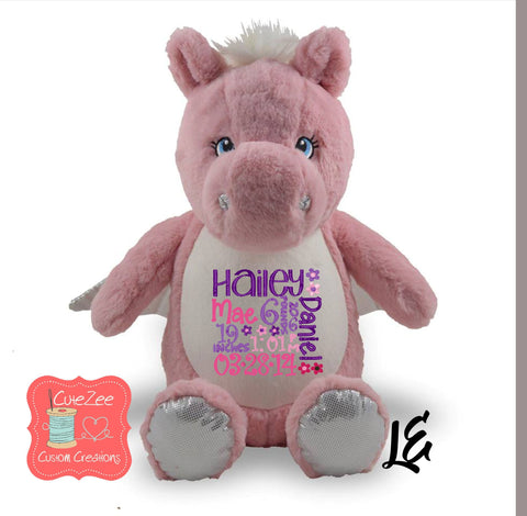 Personalized Pink Pegasus Stuffed Animal, Personalized Baby Gift , Birth Announcement Gift, Baby Shower Gift, Cubbie, Custom, Stuffy