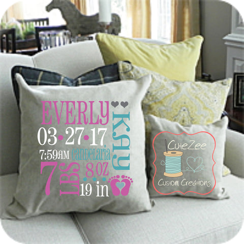 CUSTOM THROW PILLOW, Birth Stats, Baby Gift, Baby Pillow, Birth Announcement, Decorative Pillow, Throw Pillow, Home Decor, Decor Pillow
