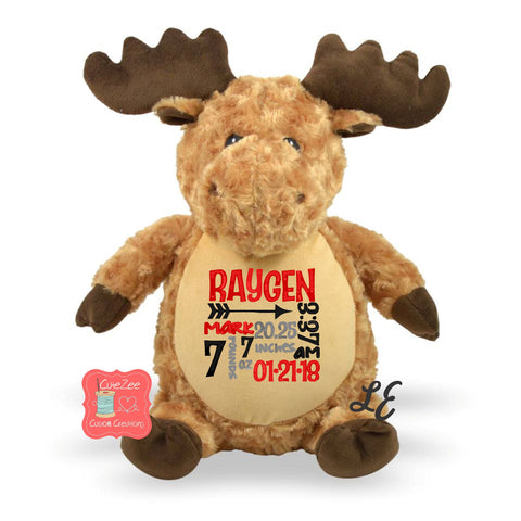 Personalized Moose Stuffed Animal, Personalized Baby Gift , Birth Announcement Gift, Baby Shower Gift, Cubbie, Custom, Stuffy