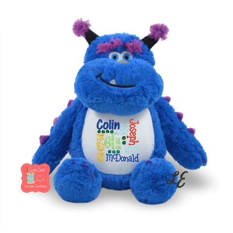 Personalized Monster Stuffed Animal, Personalized Baby Gift , Birth Announcement Gift, Baby Shower Gift, Cubbie, Custom, Stuffy, Sully