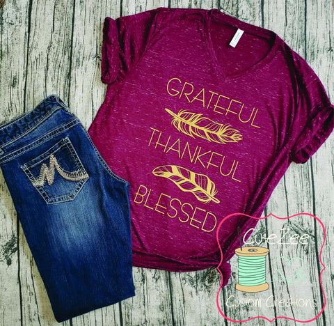 Greatful Thankful Blessed Shirt, Fall Tee, Thanksgiving Shirt, Mom Shirt, Mom T-Shirt, Maroon, Unisex Bella Canvas, Soft Shirt,