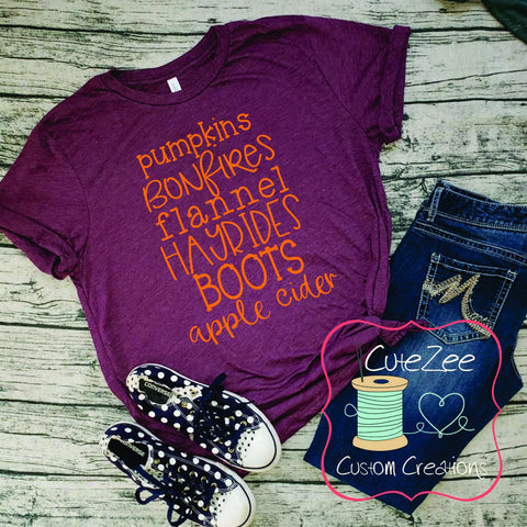 Fall Tee, Pumpkins, Bonfires, Flannel, Apple cider, Thanksgiving Shirt, Mom Shirt, Mom T-Shirt, Maroon, Unisex Bella Canvas, Soft Shirt,