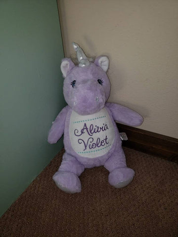 Personalized Purple Unicorn Stuffed Animal, Personalized Baby Gift , Birth Announcement Gift, Baby Shower Gift, Cubbie, Custom, Stuffy