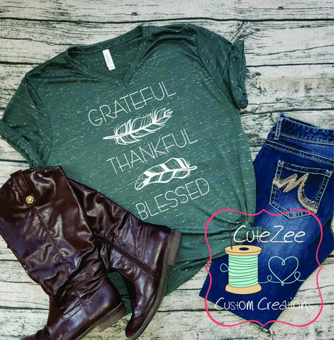 Greatful Thankful Blessed Shirt, Fall Tee, Thanksgiving Shirt, Mom Shirt, Mom T-Shirt, Green, Unisex Bella Canvas, Soft Shirt,