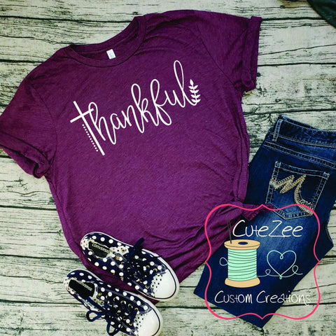 Thankful, Fall Tee, Greatful Thankful Blessed, Thanksgiving Shirt, Mom Shirt, Mom T-Shirt, Maroon, Unisex Bella Canvas, Soft Shirt,