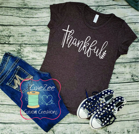 Thankful, Fall Tee, Greatful Thankful Blessed, Thanksgiving Shirt, Mom Shirt, Mom T-Shirt, Brown, Unisex Bella Canvas, Soft Shirt,