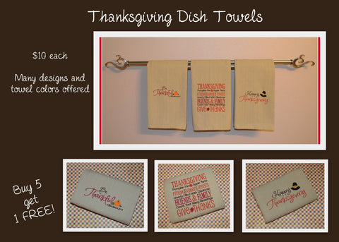 Thanksgiving Dish Towel Set - 3 Towels