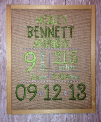 Baby Birth Stats Burlap Art