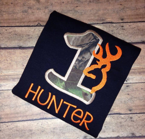 Hunter's First Birthday Onesie/Shirt (Short Sleeve)