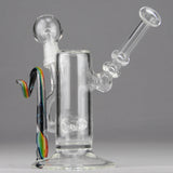Teagardins Glass -14mm D.I. Inline Bubbler With Worked Ribbon