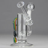 "Teagardins Glass - Inline Percolator Diffuser Dab Rig -  Multi Color - 4mm Thickness / 7"" Height"