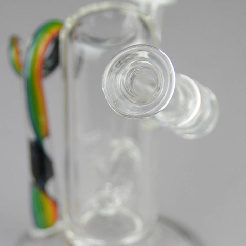 "Teagardins Glass - Inline Percolator Diffuser Oil Rig -  Multi Color - 4mm Thickness / 7"" Height"
