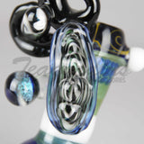 "Teagardins Glass - Heady Bubbler Water Pipe - 15 Piece - Black Green Blue - 4mm Thickness / 9.5"" Height"