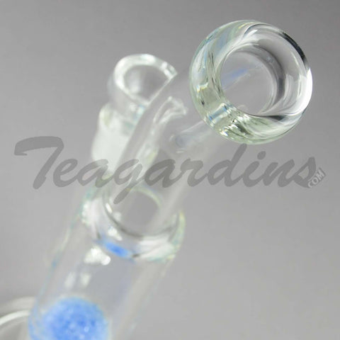"Teagardins Glass - Bubbler - Fritted Disc Percolator - Stemless Straight Water Pipe - Blue - 4mm Thickness / 10"" Height"