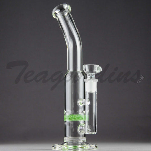 Teagardins Glass - Bubbler - Fritted Disc Percolator Stemless Straight Water Pipe - Green - 4mm Thickness / 10