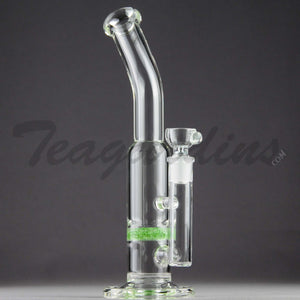 "Teagardins Glass - Bubbler - Fritted Disc Percolator Stemless Straight Water Pipe - Green - 4mm Thickness / 10"" Height"