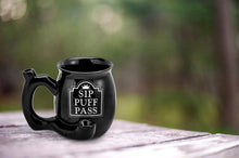 Load image into Gallery viewer, Fashioncraft - Hand Pipe Mug - Roast & Toast Sip Puff Pass Black With White Print For Sale