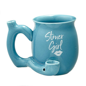 Fashioncraft - Hand Pipe Mug - Roast & Toast Stoner Girl Blue With White Imprint For Sale