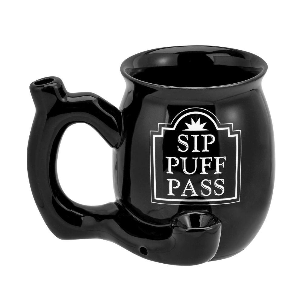 Fashioncraft - Hand Pipe Mug - Roast & Toast Sip Puff Pass Black With White Print For Sale