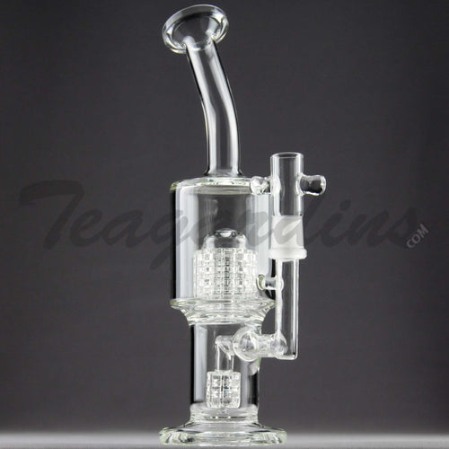 Teagardins Glass -  D.I. Bubbler - Double Mini Matrix & Matrix Percolator Stemless Straight Water Pipe - 4mm Thickness / 10