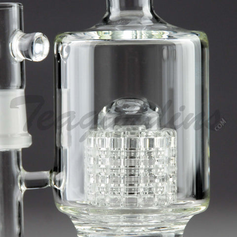 "Teagardins Glass -  D.I. Bubbler - Double Mini Matrix & Matrix Percolator Stemless Straight Water Pipe - 4mm Thickness / 10"" Height"