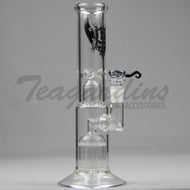 Pure Glass-Double Chamber 8 Arm Tree Perculator Scientific Pipes Water Bongs