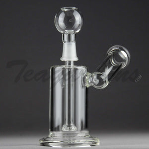 "Teagardins Glass -  D.I. Bubbler - Fixed Showerhead Downstem Sidecar Dab Rig -  5mm Thickness / 7"" Height"