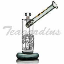 "Load image into Gallery viewer, Grav Glass - Gold Series Bubbler - Fritted Disc Percolator Fixed Diffuser Downstem Sidecar Straight Water Pipe - Green - 5mm Thickness / 9"" Height"