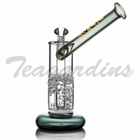 "Grav Glass - Gold Series Bubbler - Fritted Disc Percolator Fixed Diffuser Downstem Sidecar Straight Water Pipe - Green - 5mm Thickness / 9"" Height"