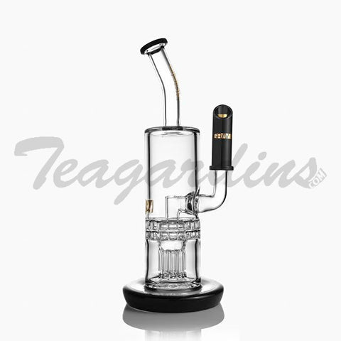Grav Glass Gold Series-Double Sprocket Tree Perc With Black Accents