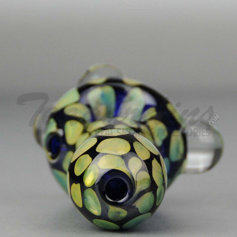 Teagardins - Cobalt Glass Worked Spoon Hand Pipe 4""