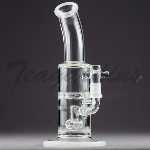 Teagardins Glass - D.I. Bubbler - Hammerhead Percolator Turbine Percolator Straight Water Pipe - White - 5mm Thickness / 9' Height