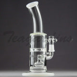 "Teagardin's Glass - D.I. Bubbler Straight Water Pipe - White - 4mm Thickness / 9"" Height"
