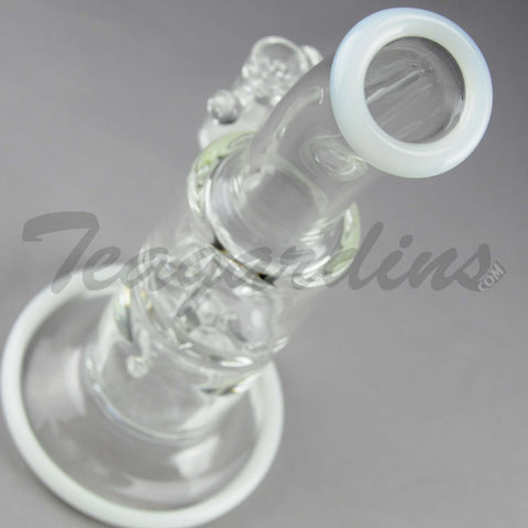 Teagardins Glass - D.I. Bubbler Straight Water Pipe - White - 5mm Thickness / 9' Height