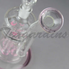 "Load image into Gallery viewer, Teagardins Glass - Bubbler - Fixed Quad Showerhead Downstem Straight Water Pipe - Pink - 4mm Thickness / 10"" Height"