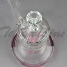 "Load image into Gallery viewer, Teagardin's Glass - Bubbler Straight Water Pipe - Pink - 4mm Thickness / 10"" HeightTeagardins Glass - Bubbler - Fixed Quad Showerhead Downstem Straight Water Pipe - Pink - 4mm Thickness / 10"" Height"