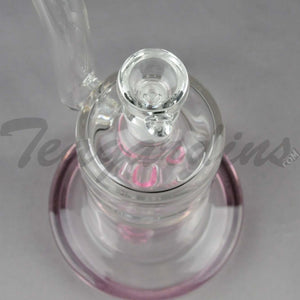 "Teagardin's Glass - Bubbler Straight Water Pipe - Pink - 4mm Thickness / 10"" HeightTeagardins Glass - Bubbler - Fixed Quad Showerhead Downstem Straight Water Pipe - Pink - 4mm Thickness / 10"" Height"